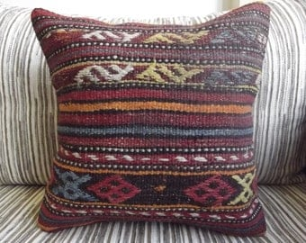 "Very Old Kilim Pillow Cover 16"" x 16"" Home Decor Vintage Turkish Kilims Pillow Cushion Covers Vegetable Dyes Handwoven Wool Kilim Pillows"