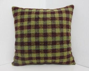Vintage Turkish Kilim Cushion Cover 16x16 / 40x40 Turkish Kilim Rug Pillow Cover Cushion Covers Stripe Designs Throw Pillows Accent Pillows