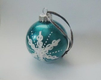 Teal Hand-painted Glitter Snowflake Glass Holiday Ornament