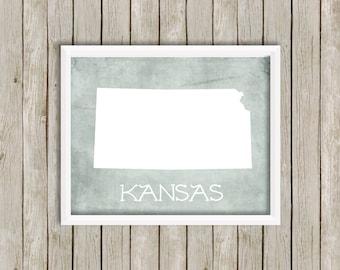 Custom Printable Digital Art - Kansas, As Big As You Think - 8x10