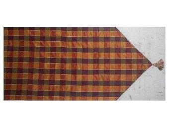 Handmade Table Runner Silk Like fabric with tassels end