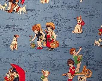 Lil' Rascals Girls Playing and Dogs Fabric, Cotton Quilting Crafting Home Decor