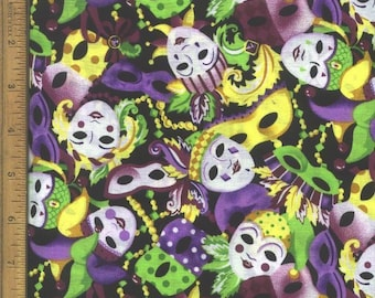 Carnival Mask New Orleans Bourbon Street Mardi Grass Mask Fabric, Quilt or Craft Cotton