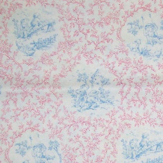 Nursey children andy 39 s gang color blue pink toile fabric for Children s home decor fabric