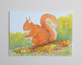 Red Squirrel ACEO Original Watercolour