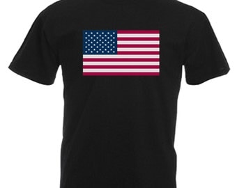 USA Adults Mens Black T Shirt Sizes From Small - 3XL