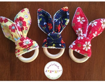 Eco Friendly Teether Wooden Teething Ring with Handmade Bunny Ears - Vintage Floral, Yellow, Navy, Red