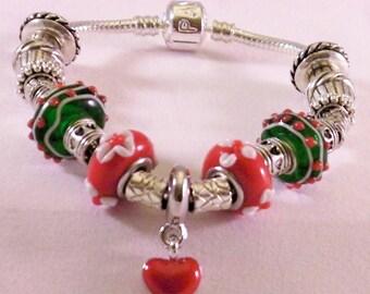 Snake Chain Red Green Lampwork Christmas Silver Tone Bracelet, Lead Free Size 6 1/4 +/-