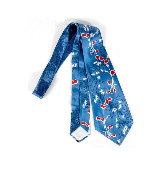 Vintage 40s Tie - 40s Necktie - 40s Cravat - Wide Satin Tie - Swing Tie - Novelty Print - Asian Tie - Bamboo - Red White Blue - Van Heusen