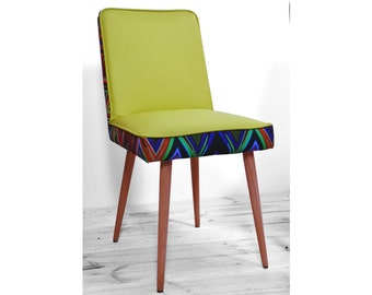 vintage reupholstered green zigzag chair from 1970'