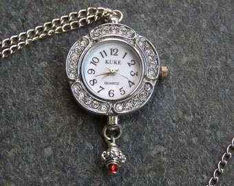 Real Clock pendant necklace, silvering necklace, Rhinestones pendant