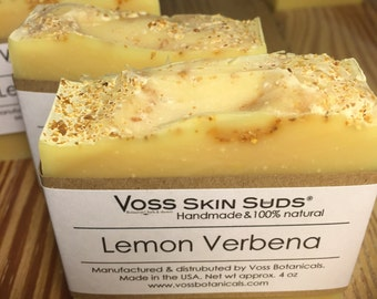 Lemon Verbena Soap - Handmade Soap, Lemon Citrus Soap, Sunflower Oil Soap, Cold Process Soap, Organic Lemon Verbena Leaf Tea, Lemongrass
