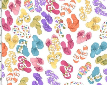 Lazy Beach - Per Yd - Loralie Harris Designs - Flip Flops on White