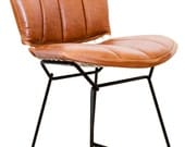 Vintage Bertoia Chairs w/Custom Leather Cushion