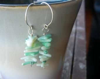 Aqua Coral Dangle Earrings
