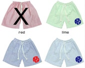 Boys' and Baby Boys' Monogrammed Seersucker Swimsuit Trunks