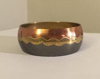 Vintage Tri Colored Large Brass Bangle