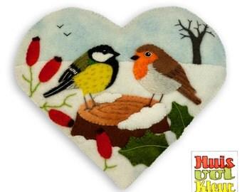 DIY Heart birds in Winter