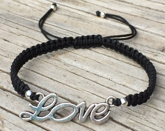 Love Word Bracelet, Love Word Anklet, Adjustable Cord Macrame Friendship Bracelet, Love Bracelet, Gift for Her, Love Jewelry, Word Jewelry