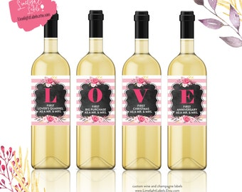 Marriage FIRSTS wine labels, Wedding Wine Labels, Wedding Gift, LOVE wine labels, Married Moments wine labels, Engagement Gift, Style 22