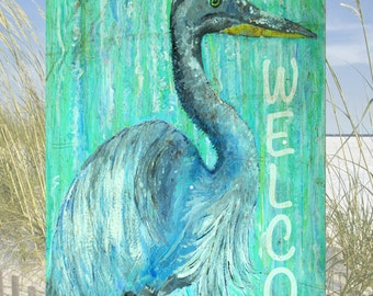 FREE SHIPPING!  Blue Heron Welcome Wood Sign