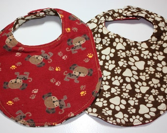 Soft Reversible Magnetic Baby/toddler Bib- puppy dog and paw print, red