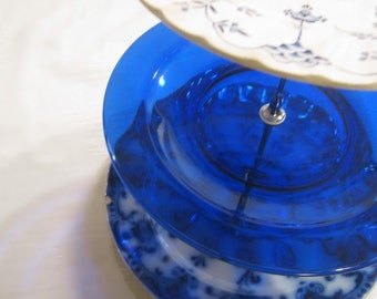 3 Tiered Vintage Cake Plate, Jewelry Stand with blue and white design, perfect for any occasion!
