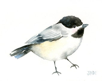 Chickadee Original Art - Watercolor Bird Painting - 5 x 7 - Baby Nursery Art