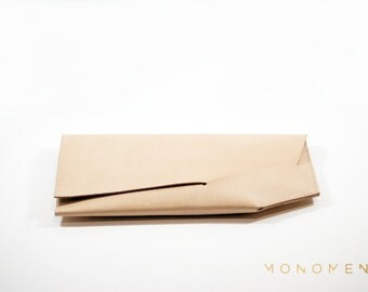 Leather clutch, small purse or handbag. Hand stitched. Simple, basic and nice design in vegetable tanned leather. Modern and minimal