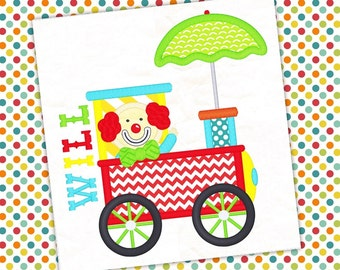 Circus Train and Clown Machine Applique Design 1017
