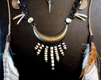 Tribal necklace with feathers