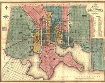 1836 Map of Baltimore Maryland