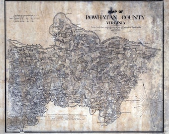 1864 Map of Powhatan County Virginia Family Names Genealogy