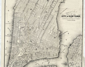 1860 Map of New York City & Brooklyn