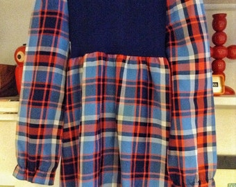 Pretty Little Tartan High Necked Vintage 60s 70s Dress by St Michael Ages 7-8 yrs