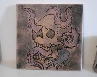 Skulltopus!  water colour wood carving skull octopus water display wall art