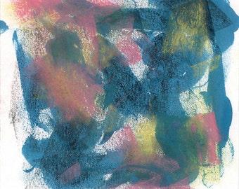 Abstract Art Print - mixed media, blue, black, yellow, pink
