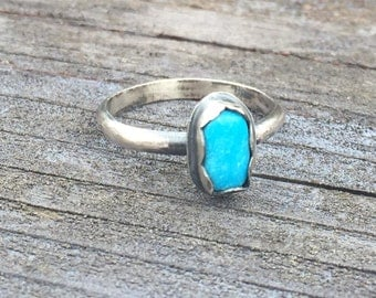 Simple Sterling Silver & Turquoise Ring, Size 8.5