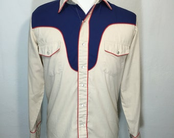 80's western shirt with a pearl snap button mens size medium
