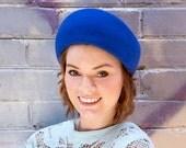 Retro Hat - Vintage Inspired Hat - Rockabilly Hat - Blue Retro Hat - Blue Ladies Hat - Blue Felt Hat - Retro Felt Hat - Blue 1950s Hat