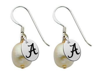 University of Alabama Crimson Tide Earrings | Sterling Silver | Freshwater Pearls | 3 Officially Licensed Styles | See Model for Size