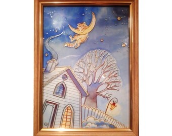 Cat on the Moon, glass painting, glass art, interior decoration, painting on glass