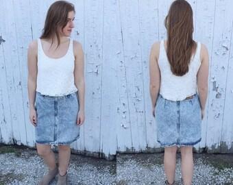 SUMMER CLEARANCE 1980s acid wash denim knee length skirt / vintage skirt / vintage denim skirt / acid wash skirt