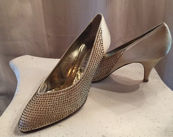 Vintage Casadei Designer Shoes ~ Ivory Satin with Bronze/Gold Studs ~ Leather Insoles Size 7 1/2 ~ 1960's