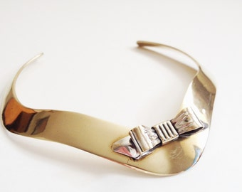 Vintage Brass Bow Necklace