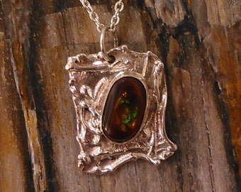 Handmade fire agate necklace