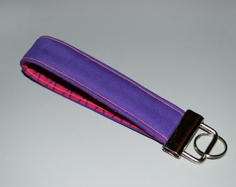 Purple + Pink Key Fob, Modern Pattern, Purple and Pink Coordinates, Fun Gifts, Split Key Ring