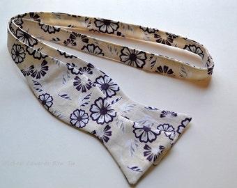Floral Bow Tie, Tan Bow Tie, Purple Bow Tie, Self Tie Bow Tie, Mens Bow Tie, Flower Bow Tie, Prom Tie, Wedding Ties, Mens Bow Ties, Bow Ties