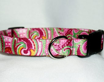 "1"" Adjustable Pink Swirl dog collar"