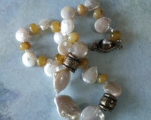 Lustrous pearl necklace - African opal necklace - One of a kind - gemstone jewelry - spring fashion accessory - VJR29